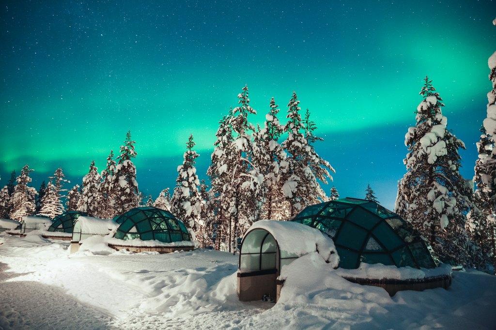 Glass Igloos in Finland photographed by altteri Hirvonen Kakslauttanen Arctic Resort